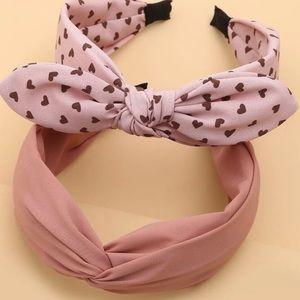 New 2 pcs. Adorable Heart Pattern Knotted Headband